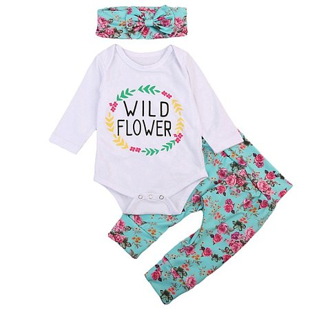 Letters Pattern Floral Print Set With Headband