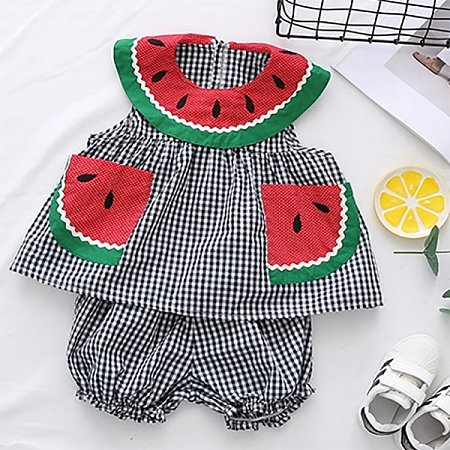 Watermelon Lattice Shorts Set