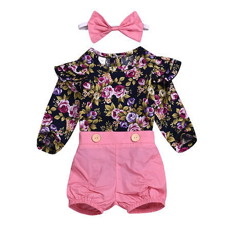 Big Flower Long Sleeves Tops And Pink Shorts Three-Piece Suit