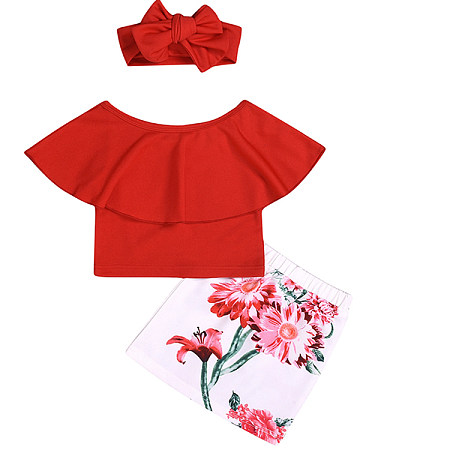 Large Lapel Red Top And  Flower Bag Hip Skirt Three Sets