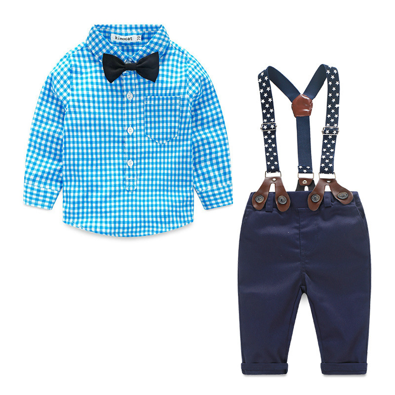 Gentleman Style Bowtie Plaid Boys Two Pieces Set
