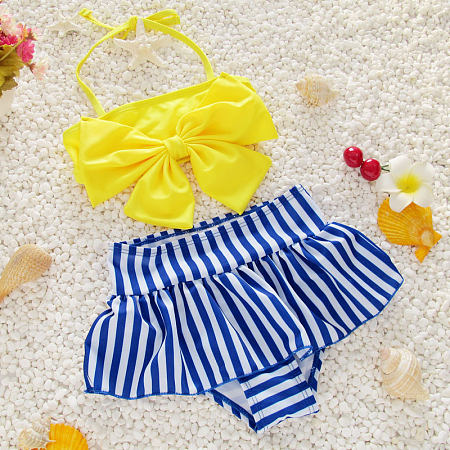 Bowknot Stripes Girls Swimming Suit