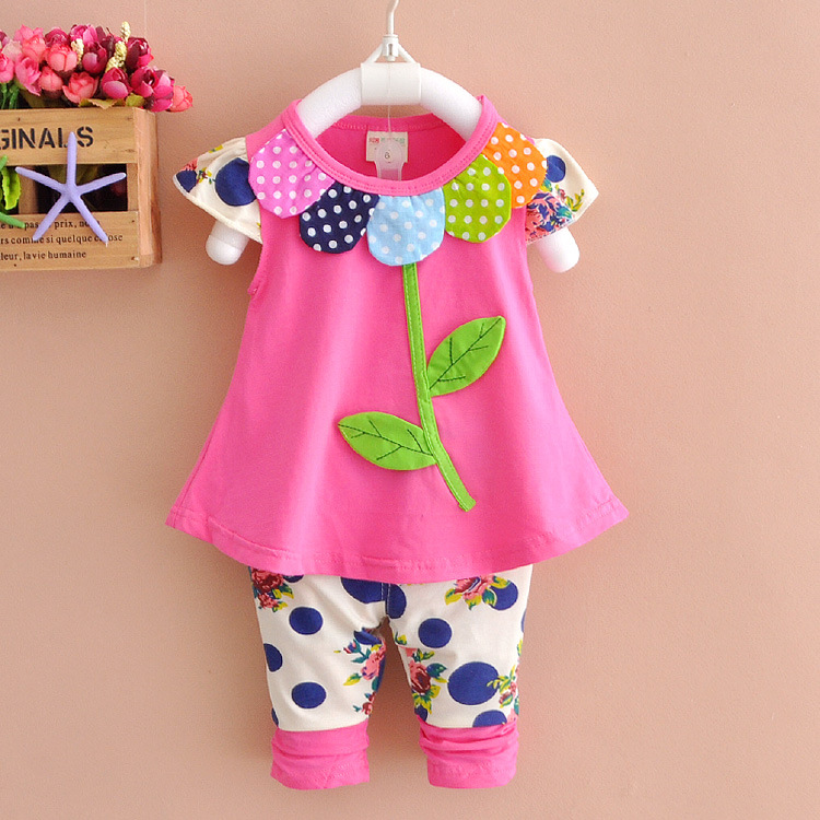 Cute Flower Style Girls Two Pieces Set