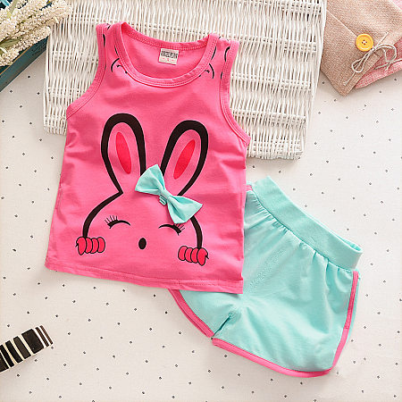 Bunny Print Bowknot Girls Summer Two Pieces Set