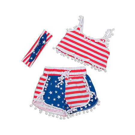 Stripes Stars Girls Swimming Suit