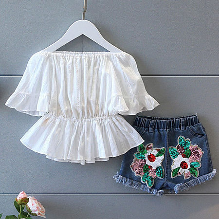 Fashion Off-The-Shoulder Top And Denim Shorts Sets
