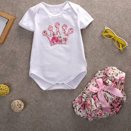 Crown Pattern Floral Prints Baby Girls Set