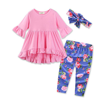 Flouncing Top And Floral Printed Pants Set With Hairband