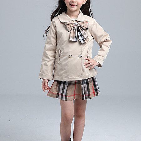 Solid Color Bowknot Decorate Outwear And Plaid Dress