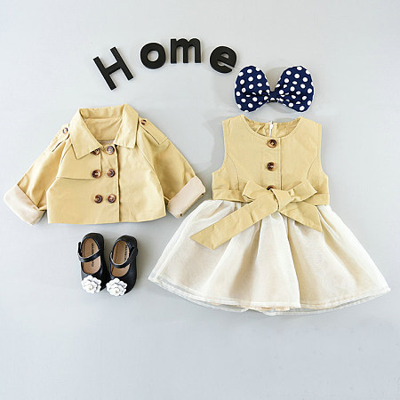 British Style Bow Tie Girls Two Pieces Set