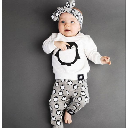 Cartoon Penguin Pattern Casual Style Sets