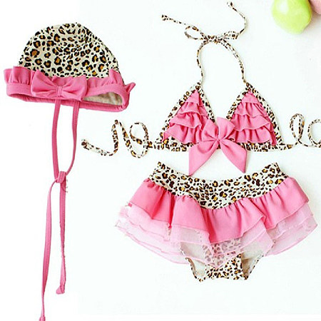 Leopard Print Girls Three Pieces Swimming Suits