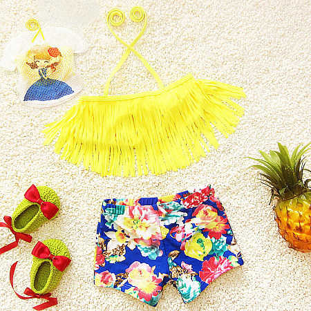 Floral Print Girls Two Pieces Swimming Suit, yellow, SZ17021613