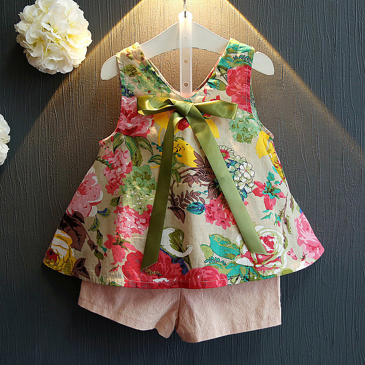 Floral Print Bowknot Two Pieces Set