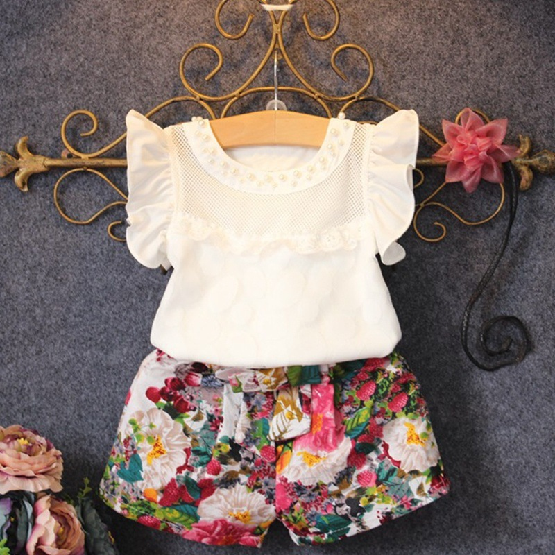 Pearl Decorated Floral Print Two Pieces Set