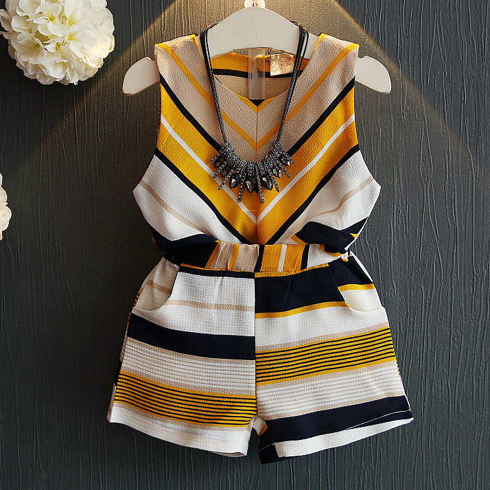 Girls Stripe Two Pieces Set Without Accessory