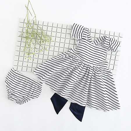 Stripe Bowknot Girls Two Pieces Set