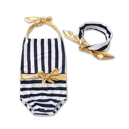 Girls Stripe Swimming Romper With Headband