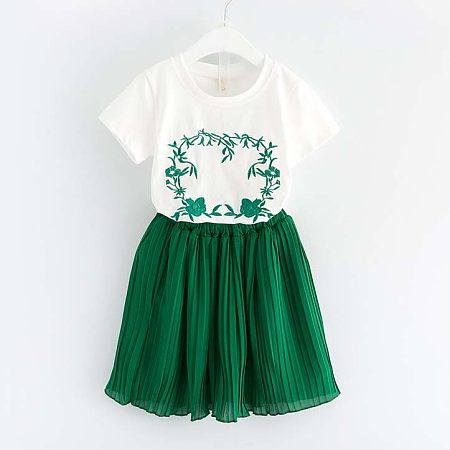 Embroidered Flower Girls Two Pieces Set