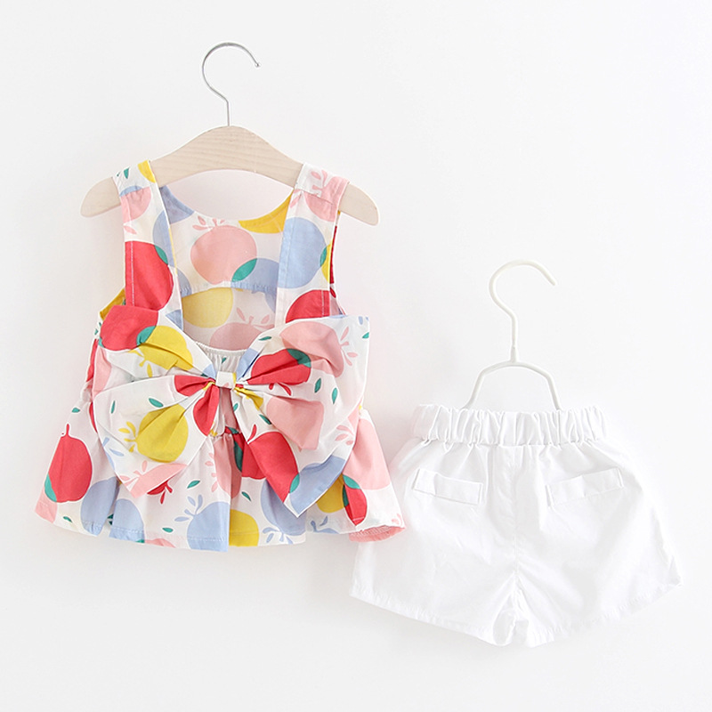 Baby Girls Apple Pattern Bowknot Two Pieces Set