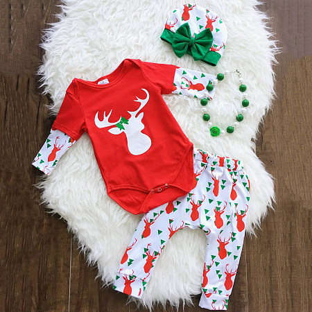 Reindeer Pattern Girls Christmas Set With Cap