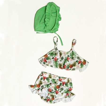 Fashionable Adorable Print Flounce Swimsuit