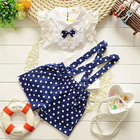Bowknot Embellished Polka Dot Suspender Sets