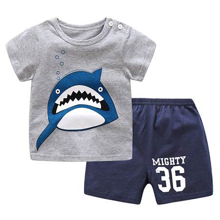 Cartoon Letters Shark Print Round Neck Sets