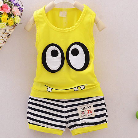 Big Eyes Pattern Sleeveless Stripe Sets