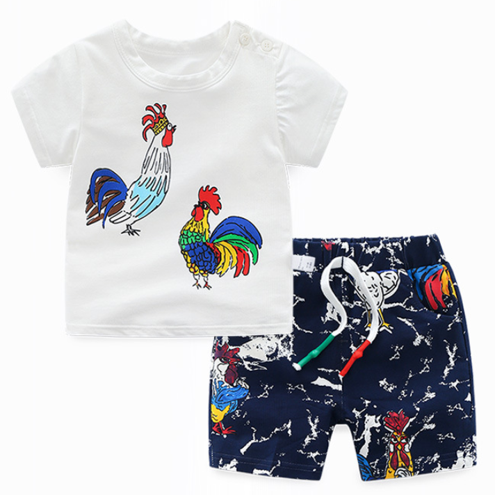 Chick Pattern Graffiti Short Sleeves Sets