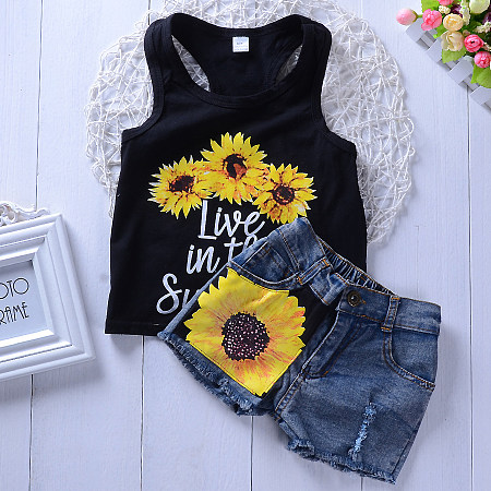 Cool Sunflower Pattern Tank Top Sets