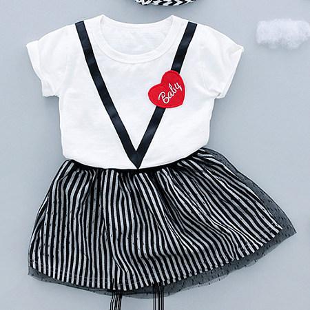 Vertical Stripe Tulle Short Sleeves Girls Sets, white, SZ18033019