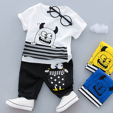 Buy Cartoon Pattern Stripe Leisure Short Sleeves Sets, white, SZ18040205 for $12.51 in Popreal store