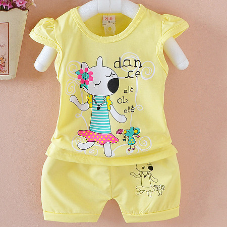 Buy Cartoon Mouse Pattern Elastic Waist Sets, yellow, SZ18040212 for $9.84 in Popreal store