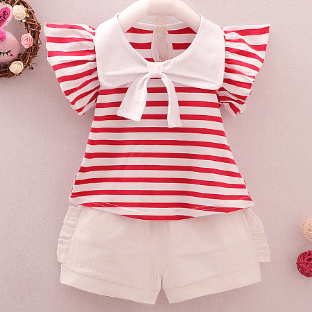 Stripe Keyhole Back Ruffle Ornament Tie Sets