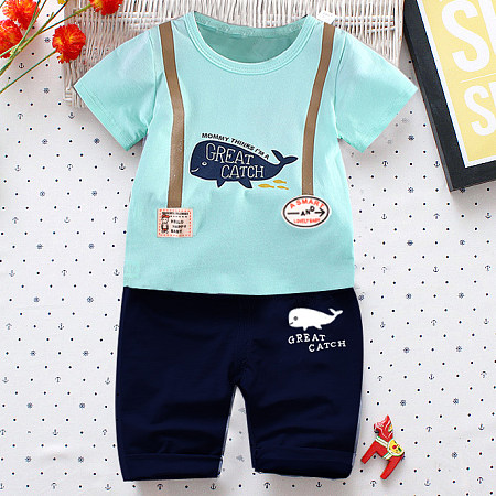 Cartoon Animals Short Sleeves Two Pieces Set