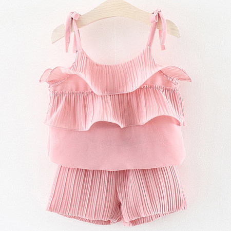 Ruffle Ornament Chiffon Halter Solid Color Sets, pink, SZ18040420