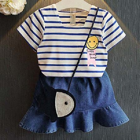 Stripe Cartoon Face Pattern Denim Skirt Sets