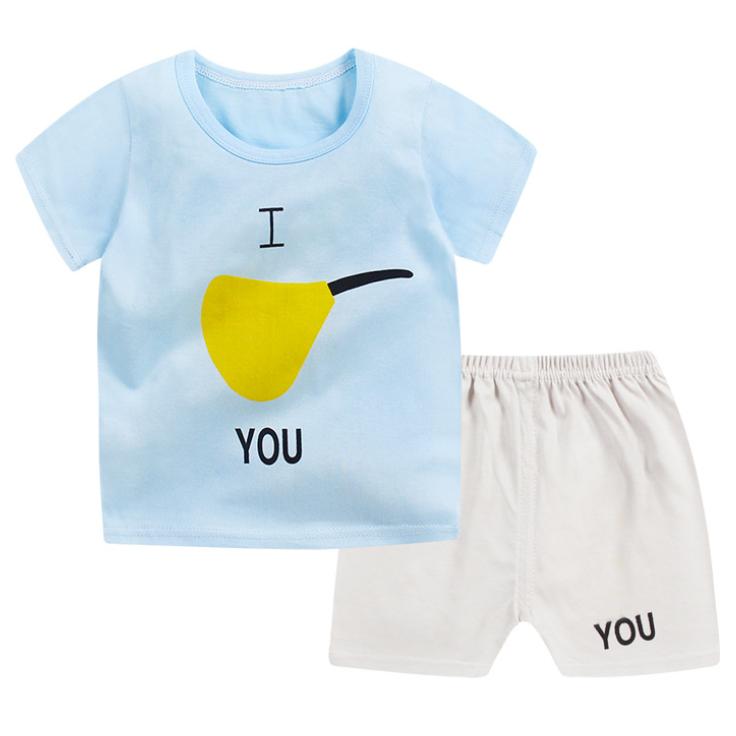 Cartoon Pear Pattern Short Sleeves Sets
