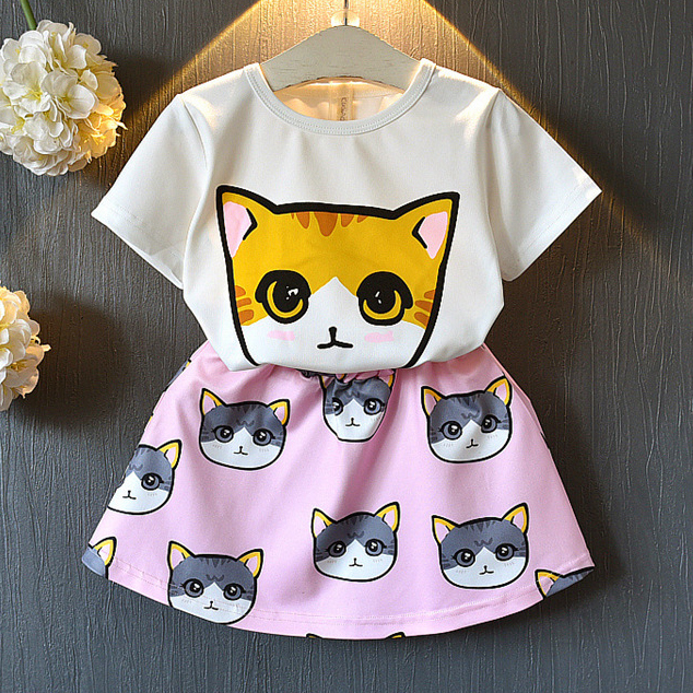Cartoon Kitty Print Short Sleeves Elastic Waist Sets