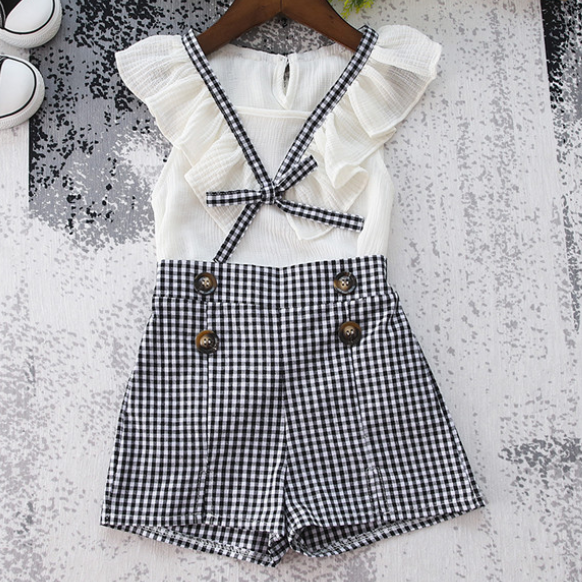 Plaid Tie Chiffon Ruffle Button Keyhole Back Sets