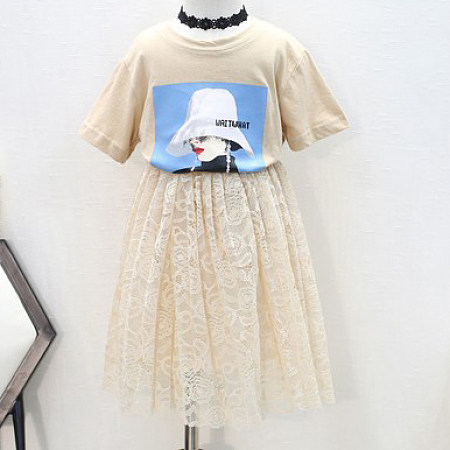 Buy Cartoon Print Short Sleeves Lace Tulle Sets, white, SZ18042403 for $15.20 in Popreal store