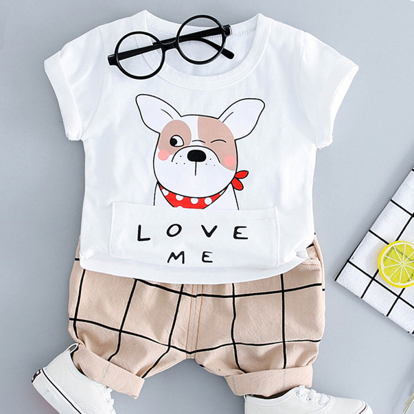 Cartoon Puppy Pattern Short Sleeves Sets