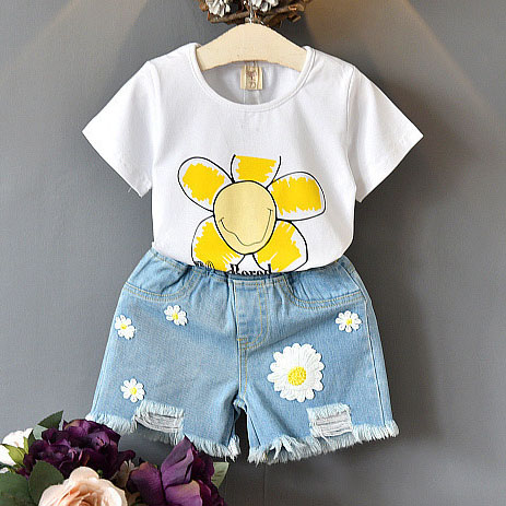 Flower Pattern Short Sleeve And Denim Shorts Girls Set