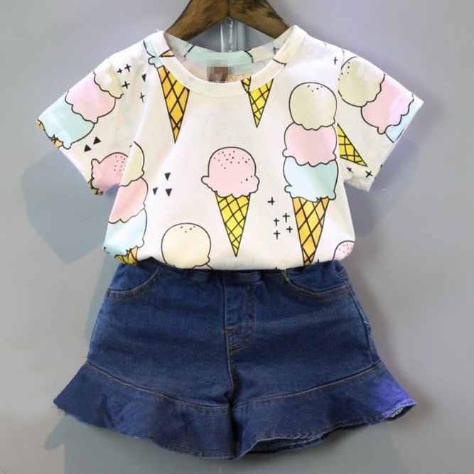 Ice Cream Print Short Sleeves And Denim Shorts Set
