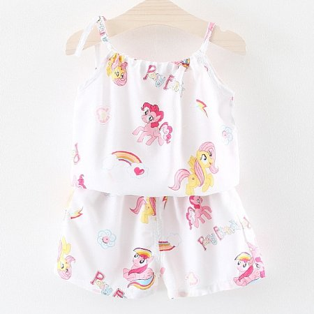 Cartoon Animals Print Top And Shorts Set