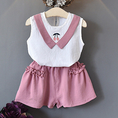 Cherry Embellished Sleeveless Top And Ruffle Ornament Shorts Set