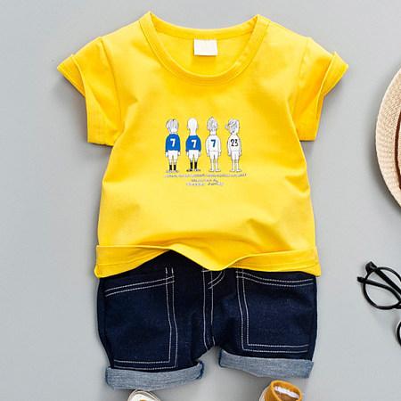 Cartoon Print Short Sleeves Denim Shorts Sets, yellow, SZ18050706
