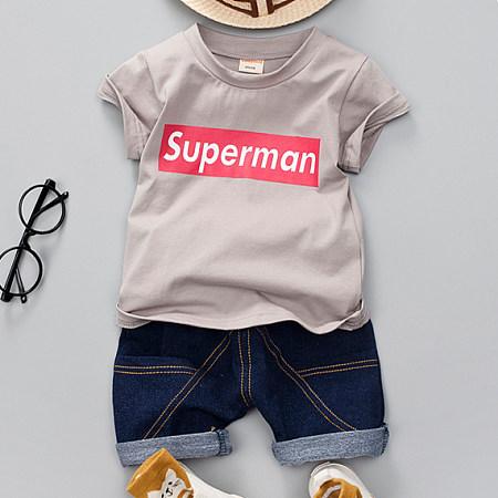 Superman Pattern Short Sleeves Denim Shorts Sets, gray, SZ18050707