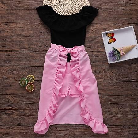 Black Tube-Tops Pink Shorts Sets